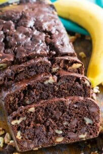 Chocolate Banana Bread is the best banana bread you will ever have! Incredibly tender, moist and flavorful, loaded with chocolate chips and crunchy walnuts!