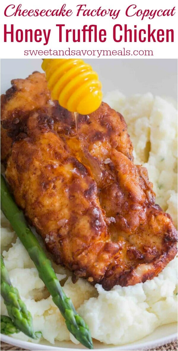 Cheesecake Factory Honey Truffle Chicken Copycat recipe is made with crispy fried chicken with truffle honey, served with asparagus and mashed potatoes.