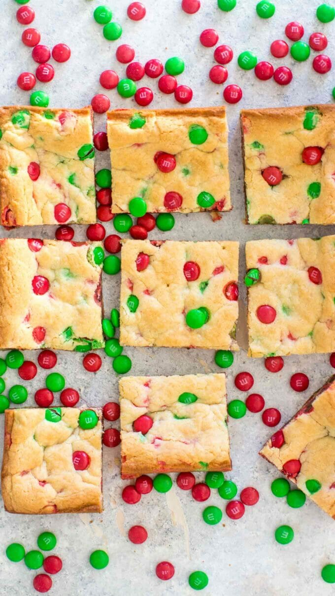 Easy M&M Cookie Bars