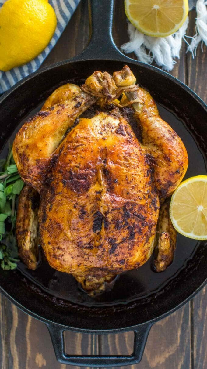 Roast Chicken in Cast Iron Pan