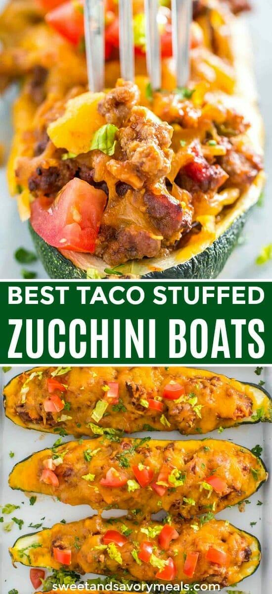 Baked Taco Stuffed Zucchini Boats