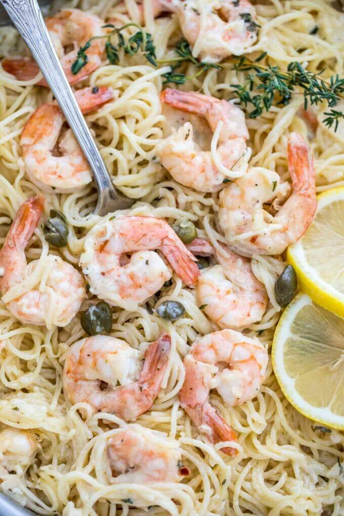 Lemon Garlic Parmesan Shrimp Pasta