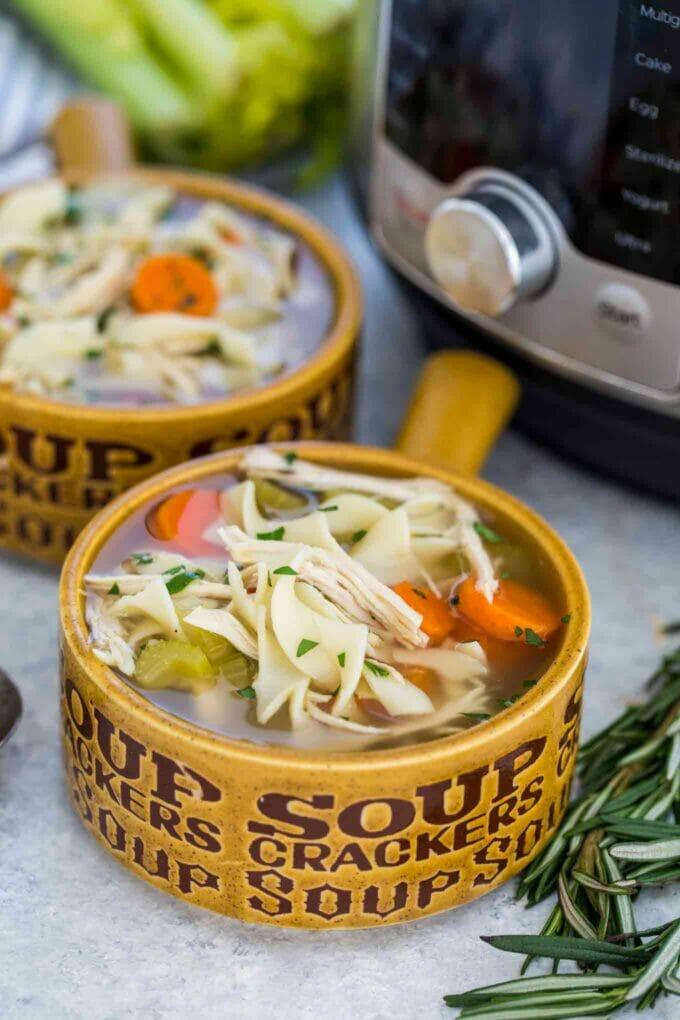 Homemade Instant Pot Chicken Noodle Soup Bowl