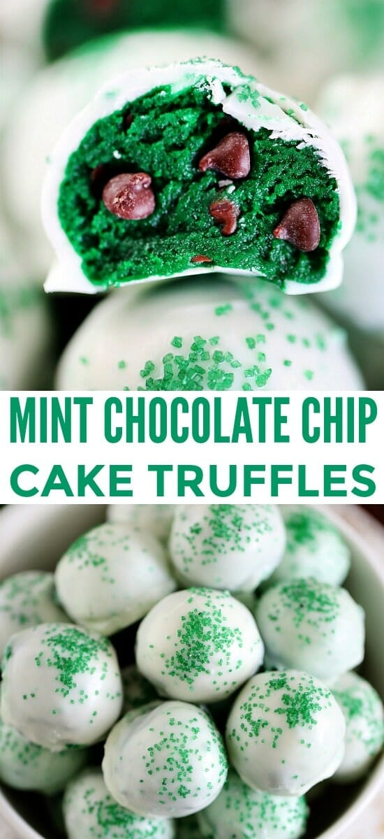 Easy Mint Chocolate Chip Truffles with Cake Mix